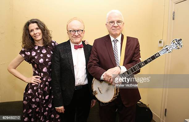 Peter Asher Edie Brickell and Steve Martin backstage before 'Bright Star' In Concert at Town Hall on December 12 2016 in New York City