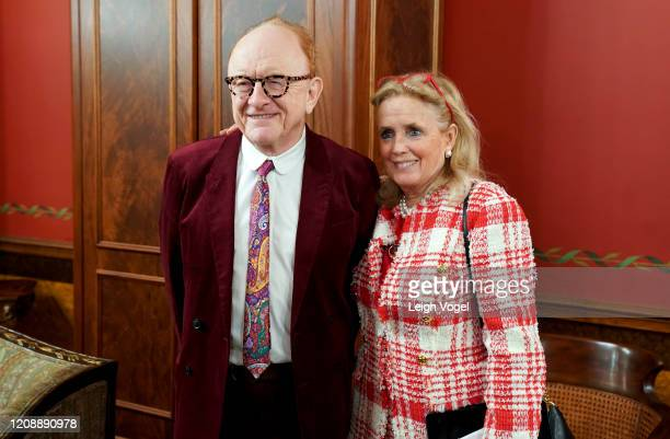 Peter Asher poses for a photo with Representative Debbie Dingell on Capitol Hill on February 26, 2020 in Washington, DC.