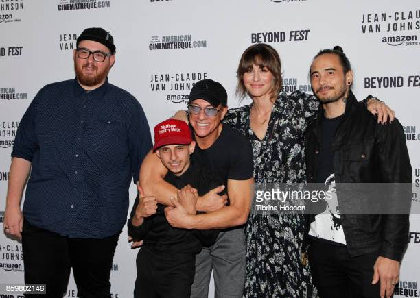 Peter Atencio Moises Arias JeanClaude Van Damme Kat Foster and Dave Callaham attend Beyond Fest's screening of Amazon's 'JeanClaude Van Johnson' at...