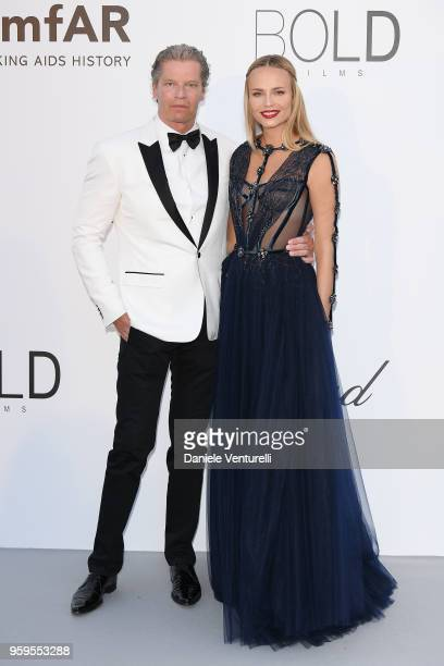 Peter Bakker and Natasha Poly arrive at the amfAR Gala Cannes 2018 at Hotel du Cap-Eden-Roc on May 17, 2018 in Cap d'Antibes, France.