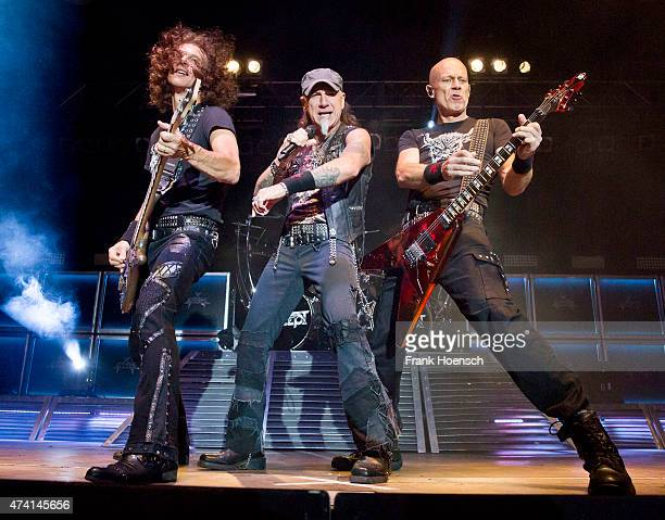 Peter Baltes Mark Tornillo and Wolf Hoffmann of Accept perform live during a concert at the Huxleys on May 20 2015 in Berlin Germany