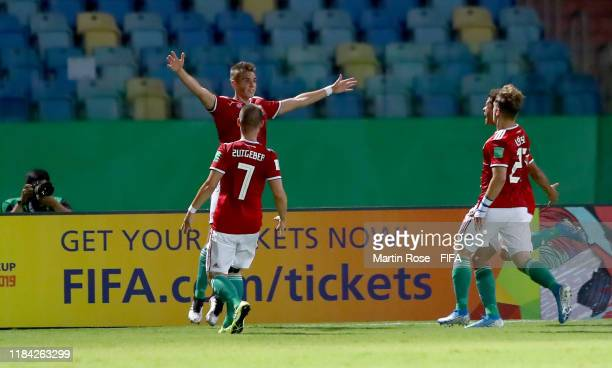 Peter Barath of Hungary celebrate with his team mates after he scores the opening goal the FIFA U17 World Cup Brazil 2019 Group B match between...