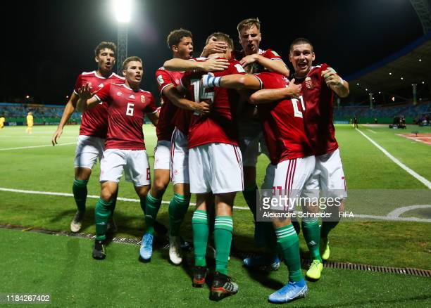 Peter Barath of Hungary celebrates with his teammates after scoring the first goal of his team during the match against Australia for the FIFA U17...