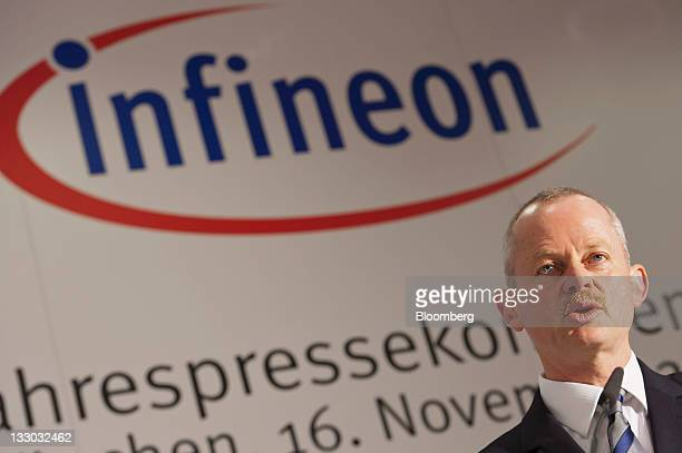 Peter Bauer chief executive officer of Infineon Technologies AG speaks during a news conference in Munich Germany on Wednesday Nov 16 2011 Infineon...