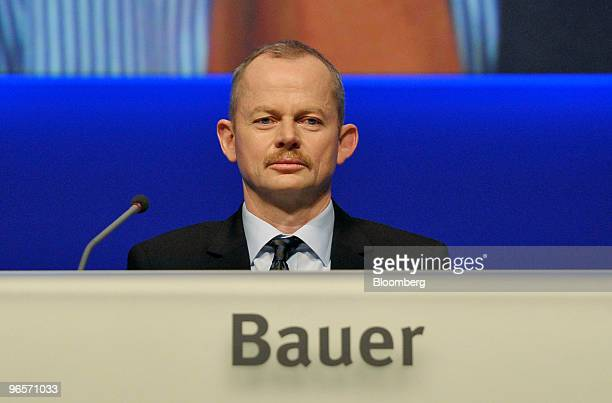 Peter Bauer chief executive officer of Infineon Technologies AG pauses during the annual shareholders' meeting in Munich Germany on Thursday Feb 11...