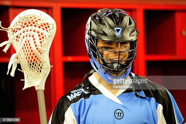 Peter Baum of the Ohio Machine prepares in the locker room prior to a game against the Charlotte Hounds at Selby Stadium on May 16 2015 in Delaware...