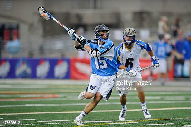Peter Baum of the Ohio Machine scores against the Charlotte Hounds in the second quarter at Selby Stadium on May 16 2015 in Delaware Ohio