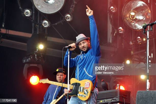 Peter Baumann and Arnim Teutoburg-Weiss of Beatsteaks performs on stage during the third and final day of Pinkpop Festival at Megaland on June 13,...