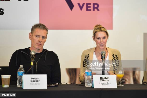 Peter Baxter and Rachel Winter speak onstage during the 2018 Mammoth Lakes Film Festival on May 26 2018 in Mammoth Lakes California