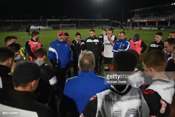 Peter Beadle the manager of Hereford addresses his players after their 02 defeat during the Emirates FA Cup second round replay match between...