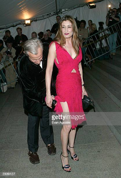 Peter Beard and guest arrive at the Metropolitan Museum of Art Costume Institute Benefit Gala sponsored by Gucci April 28 2003 at The Metropolitan...