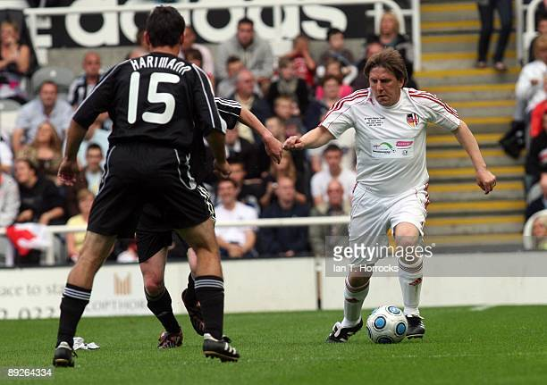 Peter Beardsley in action during the England v Germany charity match in aid of the Bobby Robson Foundation at St James' Park on July 26 2009 in...