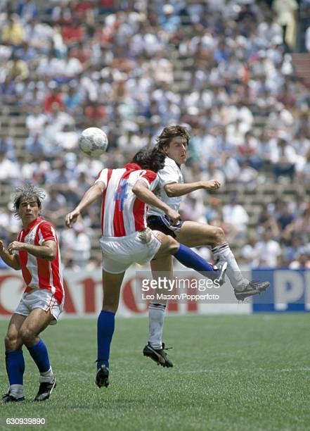 Peter Beardsley of England in action during the FIFA World Cup Group match between England and Paraguay at the Azteca Stadium in Mexico City on 18th...