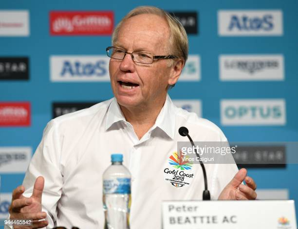 Peter Beattie Chairman GOLDOC during a press conference on day seven of the Gold Coast 2018 Commonwealth Games at Gold Coast Convention and...