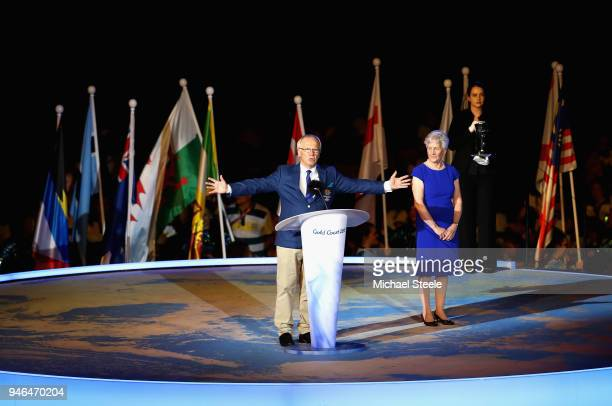 Peter Beattie makes a speach during the Closing Ceremony for the Gold Coast 2018 Commonwealth Games at Carrara Stadium on April 15 2018 on the Gold...