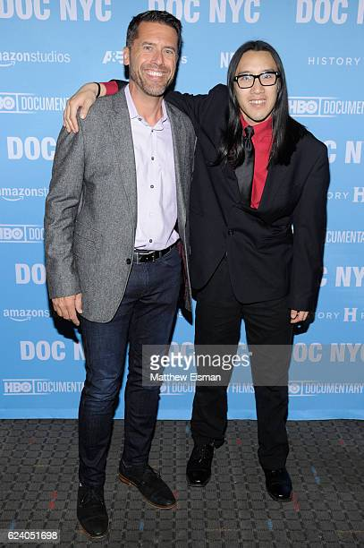 """Peter Bell of Eden Autism and Kelvin Truong attend the New York premiere of """"Swim Team"""" at DOC NYC on November 17, 2016 in New York City."""
