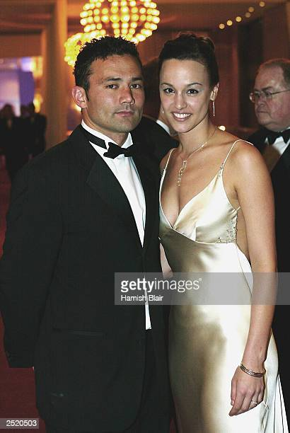 Peter Bell of Fremantle arrives with wife Lana during the AFL Brownlow Medal Count held at Crown Casino on September 22 2003 in Melbourne Australia