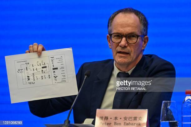 Peter Ben Embarek speaks during a press conference to wrap up a visit by an international team of experts from the World Health Organization in the...