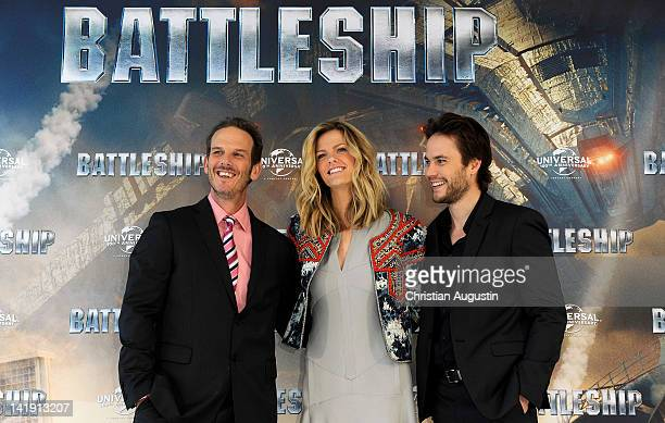 Peter Berg Brooklyn Decker and Taylor Kitsch attend Battleship Photocall at Altonaer Kaispeicher on March 26 2012 in Hamburg Germany