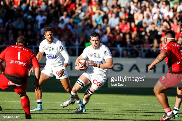 Peter Betham and Paul Jedrasiak of Clermont during the preseason match between Rc Toulon and Clermont Auvergne at Felix Mayol Stadium on August 11...