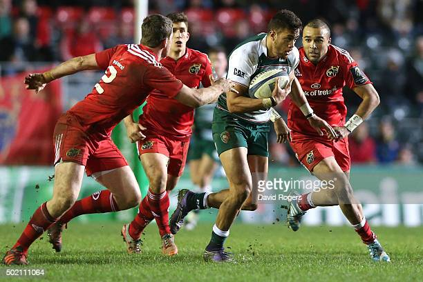 Peter Betham of Leicester charges upfield during the European Rugby Champions Cup match between Leicester Tigers and Munster at Welford Road on...