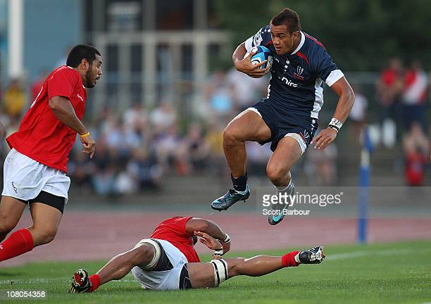 Peter Betham of the Rebels runs with the ball during the Super Rugby trial match between the Melbourne Rebels and Tonga at Olympic Park on January 15...