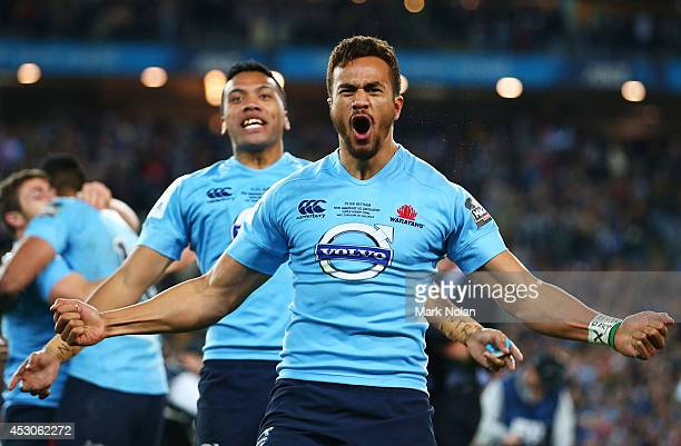 Peter Betham of the Waratahs celebrates winning the Super Rugby Grand Final match between the Waratahs and the Crusaders at ANZ Stadium on August 2...
