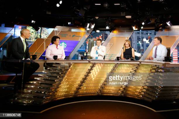 Peter Bevacqua Nancy Lopez Wilfred Frost Rebecca Quick and Joe Kernen during the CNBC interview in Times Square for the Augusta National Women's...