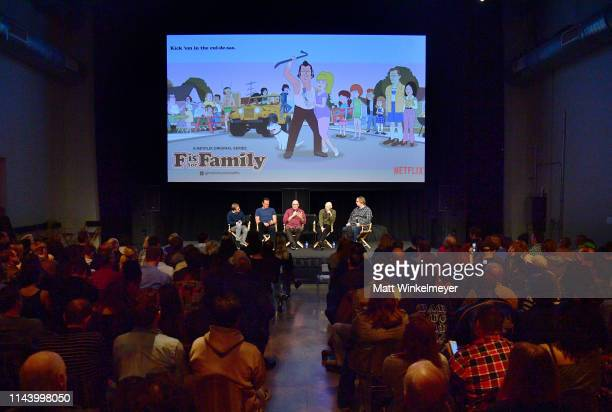 Peter Billingsley Vince Vaughn Michael Price Bill Burr and Todd VanDerWerff speak onstage at the Netflix Adult Animation QA and Reception on April 20...