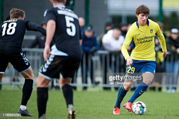 Peter Bjur of Brondby IF in action during the testmatch between Brondby IF and SonderjyskE at Brondby Stadion on February 10, 2020 in Brondby,...