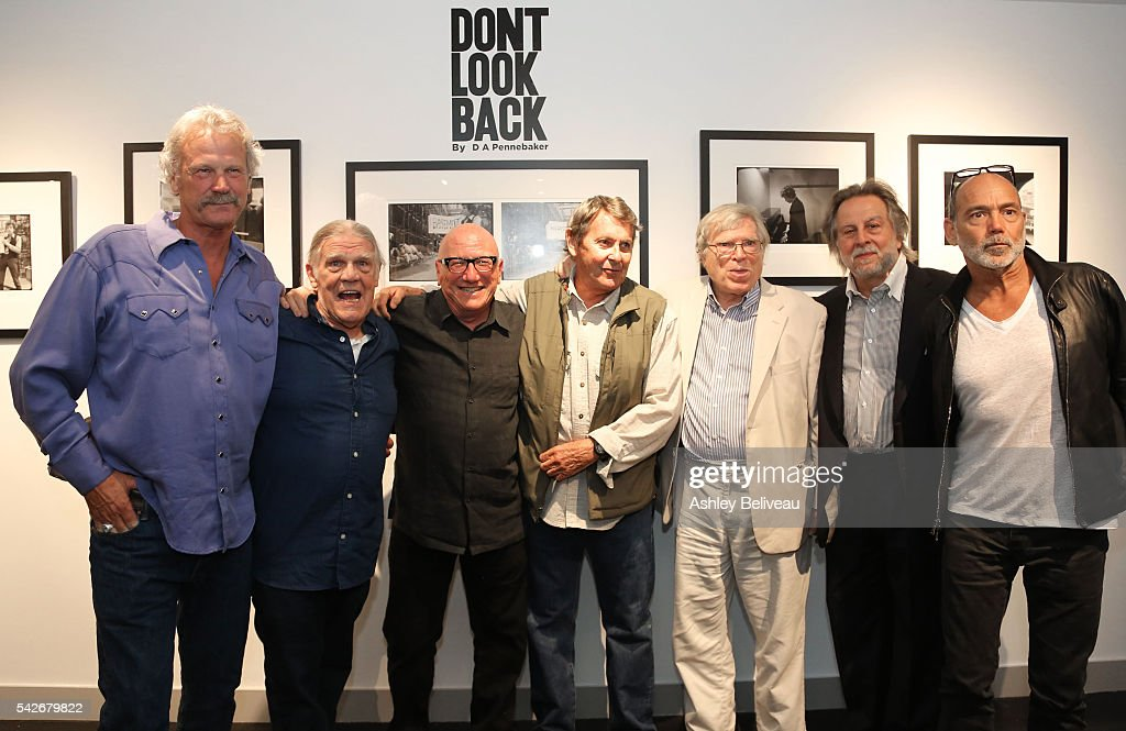Peter Blachley-gallery owner, Henry Diltz, Richard Horowitz-gallery owner, Bob Neuwirth, D.A. Pennebaker, Joseph Baldassare and Timothy White attend the celebration for 'Don't Look Back' exhibit at Morrison Hotel Gallery on June 23, 2016 in West Hollywood, California.