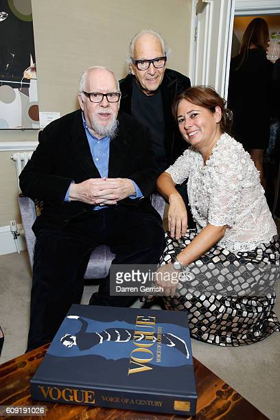 Peter Blake David Montgomery and Alexandra Shulman attends Vogue Voice of a Century launch at Matches Fashion on September 20 2016 in London England