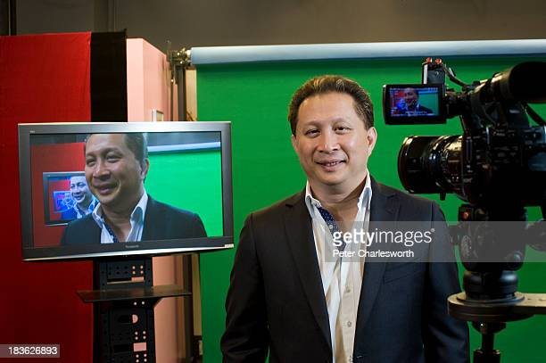 Peter Bodharamik, CEO of Jasmine International in his office in Bangkok, he is posing in the TV studio of his Mono Group, a private company that...