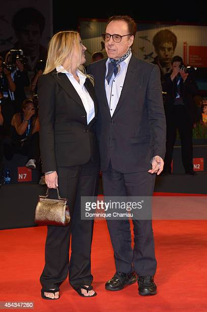 Peter Bogdanovich and Screenplay Louise Stratten attend 'She's Funny That Way' Premiere during the 71st Venice Film Festival at Sala Grande on August...