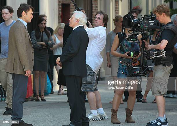 Peter Bogdanovich Will Forte and Austin Pendleton are seen filming Squirrels to the Nuts on July 18 2013 in New York City