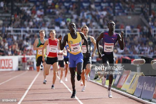 Peter Bol of Australia competes to win before his compatriot Joseph Deng and third placed Rynhardt van Rensburg of South Africa in the men's 800m...