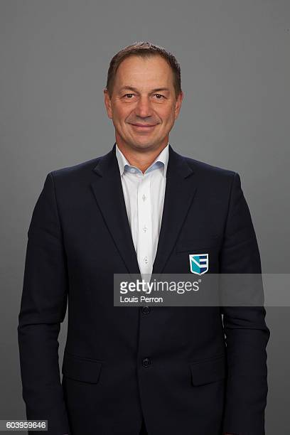 Peter Bondra, Assistant GM of Team Europe, poses for his official World Cup of Hockey head shot at the Videotron Center on September 6, 2016 in...