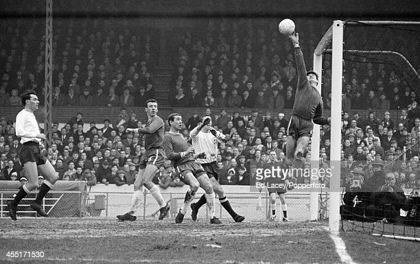 Peter Bonetti Chelsea goalkeeper makes a dramatic save against Tottenham Hotspur during their FA Cup 5th round match at Stamford Bridge in London on...