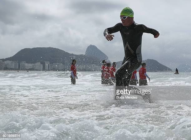 Peter Boronkay of Hungary competes in the men's triathlon PT4 at Fort Copacabana during day 3 of the Rio 2016 Paralympic Games on September 10 2016...