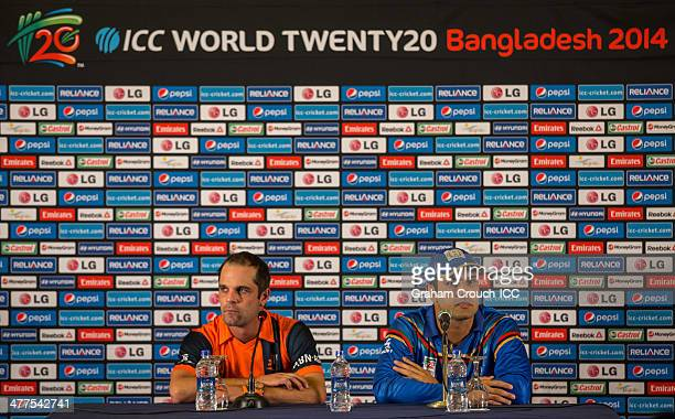 Peter Borren captain of the Netherlands and Mohammad Nabi captain of Afghanistan at the captains arrival press conference at the Peninsula Hotel...
