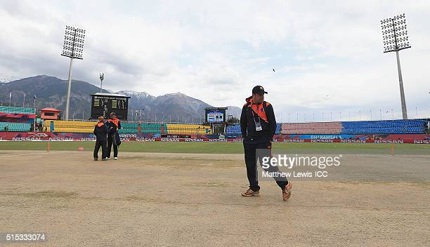 Peter Borren Captain of the Netherlands inspects the pitch ahead of the ICC World Twenty20 India 2016 match between Netherlands and Ireland at the...