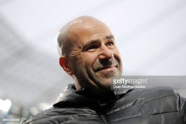 Peter Bosz coach of Dortmund before the Bundesliga match between Bayer 04 Leverkusen and Borussia Dortmund at BayArena on December 2 2017 in...