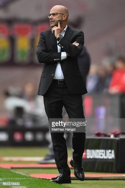 Peter Bosz coach of Dortmund during the Bundesliga match between Eintracht Frankfurt and Borussia Dortmund at CommerzbankArena on October 21 2017 in...