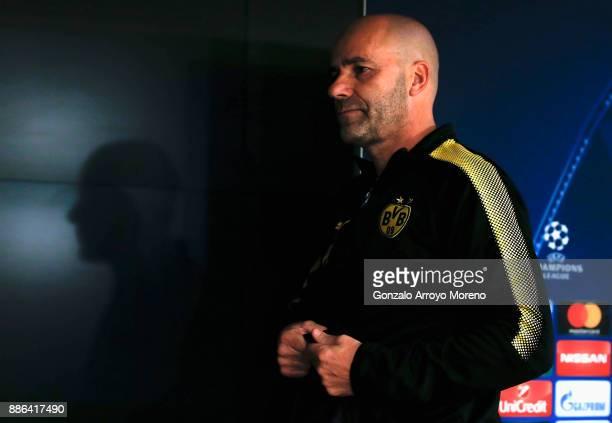Peter Bosz head coach of Borussia Dortmund looks on during a press conference at Estadio Santiago Bernabeu on December 5 2017 in Madrid Spain