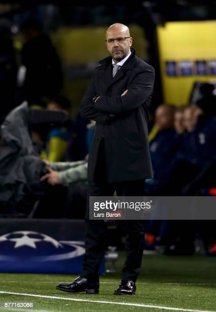 Peter Bosz head coach of Borussia Dortmund looks on during the UEFA Champions League group H match between Borussia Dortmund and Tottenham Hotspur at...