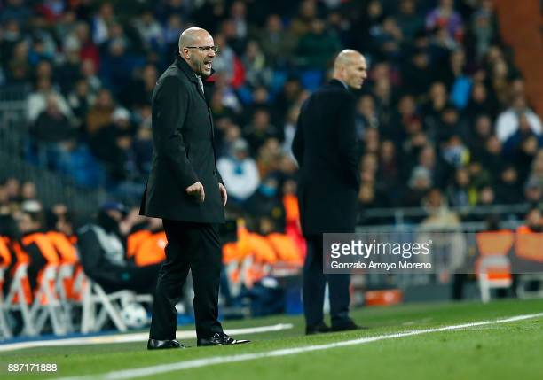 Peter Bosz head coach of Borussia Dortmund reacts during the UEFA Champions League group H match between Real Madrid and Borussia Dortmund at Estadio...