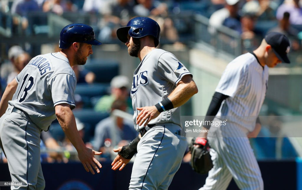 Peter Bourjos #18 and Evan Longoria #3 of the Tampa Bay Rays celebrate after both scored in the third inning against Jordan Montgomery #47 of the New York Yankees at Yankee Stadium on July 30, 2017 in the Bronx borough of New York City.