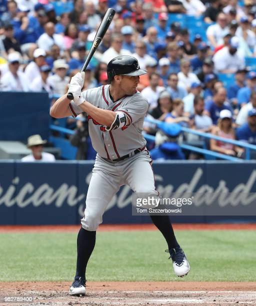 Peter Bourjos of the Atlanta Braves bats in the fifth inning during MLB game action against the Toronto Blue Jays at Rogers Centre on June 20 2018 in...