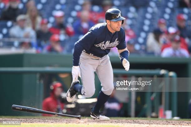 Peter Bourjos of the Atlanta Braves takes a swing during a baseball game against the Washington Nationals at Nationals Park on April 11 2018 in...