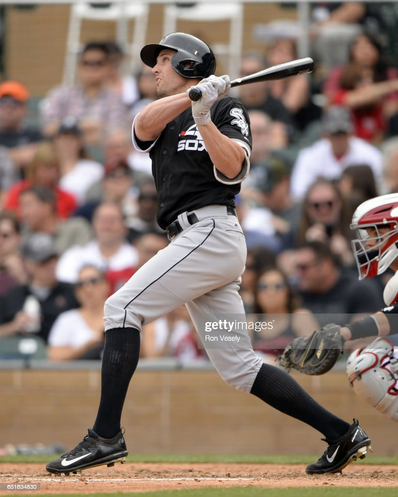 Peter Bourjos #44 of the Chicago White Sox bats during the spring training game against the Arizona Diamondbacks on March 5, 2017 at Salt River Fields at Talking Stick in Scottsdale, Arizona.
